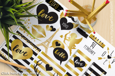 GOLD FOIL VALENTINE'S DAY Vector Clip Art