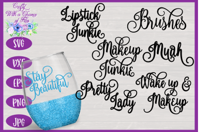 Brush Holder SVG Bundle | Make Up Words SVG | Makeup Brushes SVG