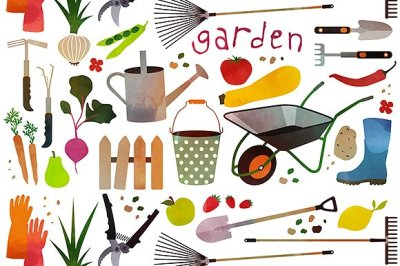 Pattern with gardening icons