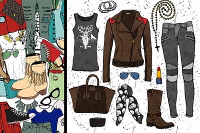 Fashion illustration clothing set.