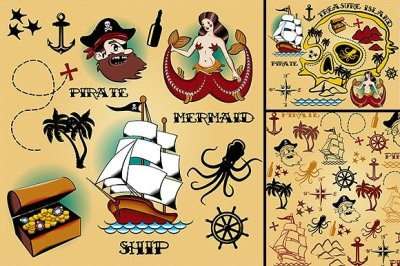 Set of vintage pirate elements.