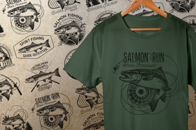 Vintage Salmon Fishing Emblems