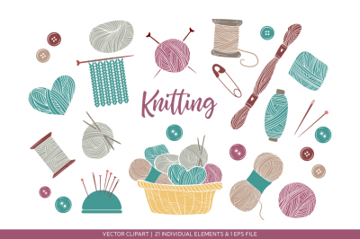 Set of knitting and crafts
