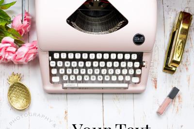 Pink Typewriter Styled Stock Photo
