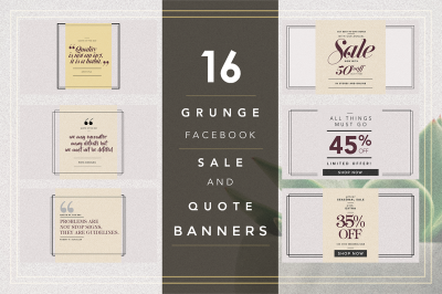 GRUNGE Facebook sale and quote pack