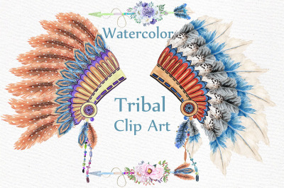 Watercolor tribal clipart