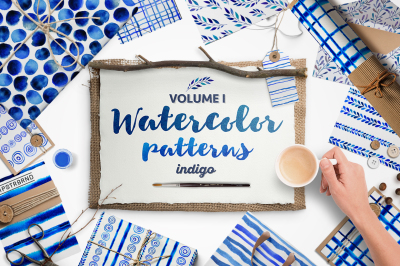 Indigo blue watercolour patterns