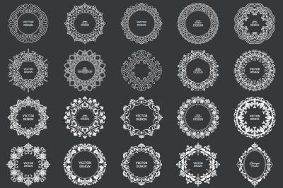 Big set decorative circular frames