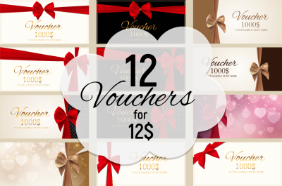 12 Gift Voucher Template Card For Your Business. Vector Illustration and Raster version