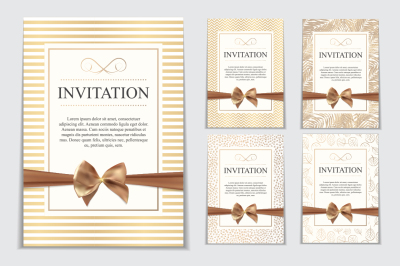 Collection of 5 Luxury Vintage Wedding Invitation with Bow and Ribbon Template Vector Illutsration and Raster Version