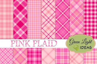Pink Plaid Digital Papers