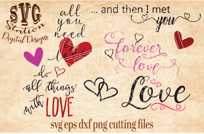 Cute Love Collection / SVG DXF PNG EPS Cutting File Silhouette Cricut