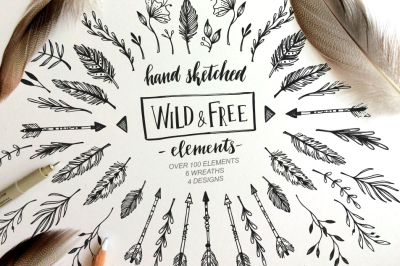 Wild and Free Hand sketched elements