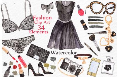Watercolor fashion clipart