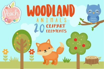 Woodland Animals Digital Clipart Set for Personal and Commercial Use
