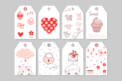 Printable Valentine tags, Cute Valentine's day gift tag, Romantic love favor tags, labels
