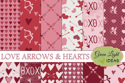 Valentine's Digital Papers, Love Arrows and Hearts Backgrounds