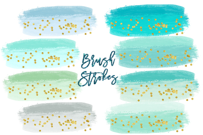 Watercolor Splashes Clipart, mint Brush Strokes Clip Art, Watercolor BRUSH STROKES Clipart Commercial Use, Paint splatter clipart, splotches