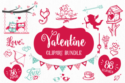Valentine Clipart Bundle 86 cliparts and 36 papers