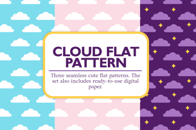 Cloud flat seamless vector patterns