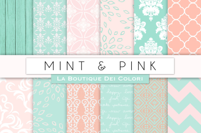 Pink and Mint Digital Papers