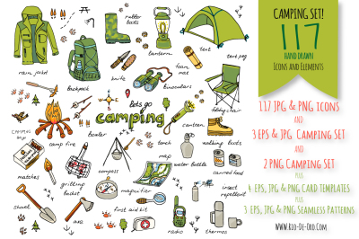 117 Hand drawn Camping elements!