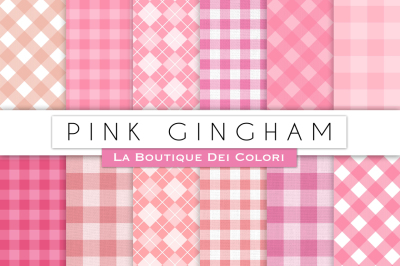 Pink Gingham Digital Papers
