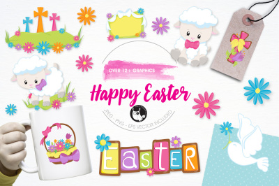 Happy Easter graphics and illustrations
