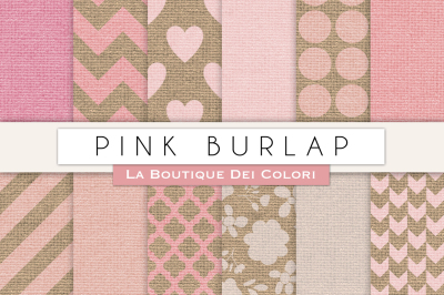 Pink Burlap Digital Papers