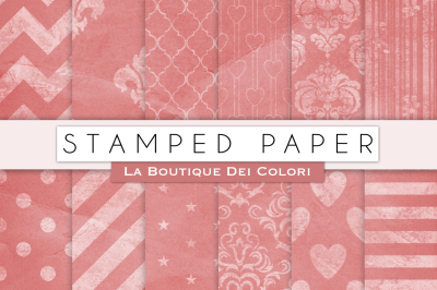 Stamped Pink Digital Papers