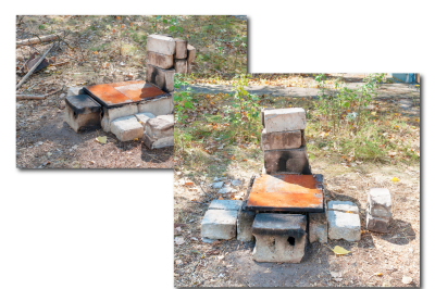 Improvised oven made of brick and iron for cooking in extreme conditions. Two files, a JPEG, 300 dpi.