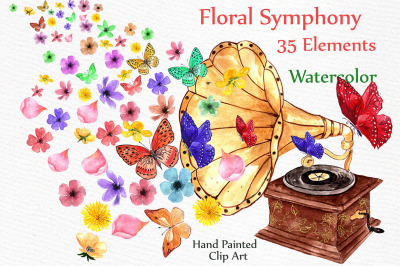 Watercolor floral elements