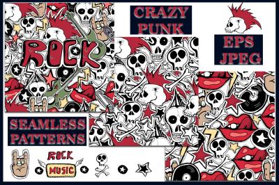 Crazy punk. Seamless patterns