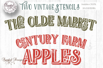 Two Vintage Sign Stencils, In Farmhouse Decor Themed Cut Files