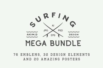 Vintage Surfing Emblems Bundle