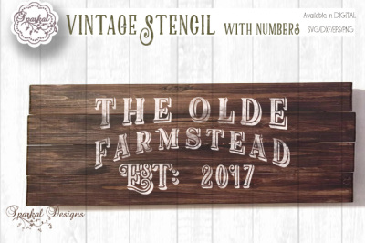 The Olde Farmstead Established Sign Stencil - Full set of Numbers Included - Cutting File