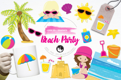 Beach Party graphics and illustrations