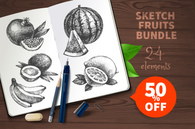 Sketch Vector Fruits Bundle Sale 50%