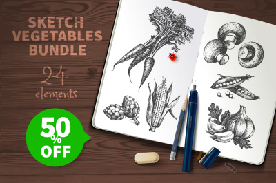 Sketch Vector Vegetables Bundle Sale 50%