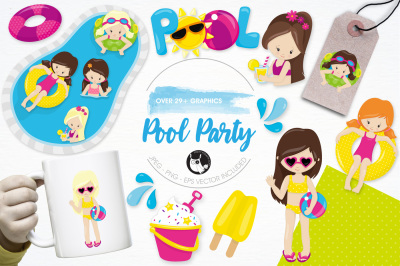 Pool Party graphics and illustrations