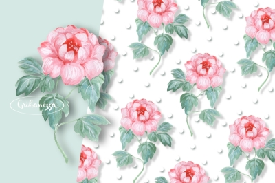Pink flowers. Watercolor patterns