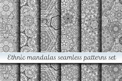 Ethnic mandals seamless patterns set