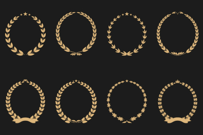 Collection of vector laurel wreaths
