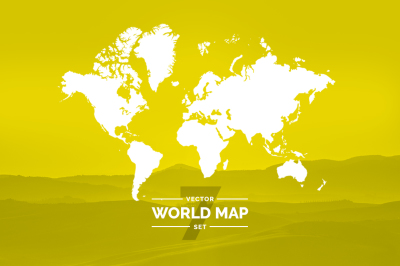 Set world maps. Dotted & silhouette