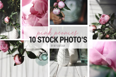Pink peonies, styled stock photo's