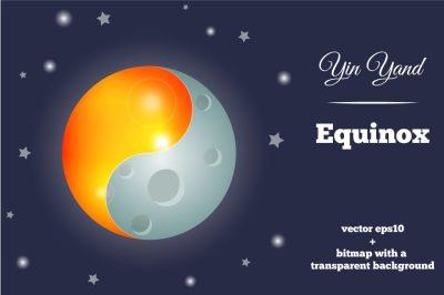 Yin and Yang Symbol with Sun and Moon