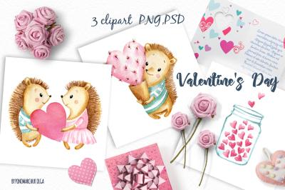 Valentine's Day watercolor clipart