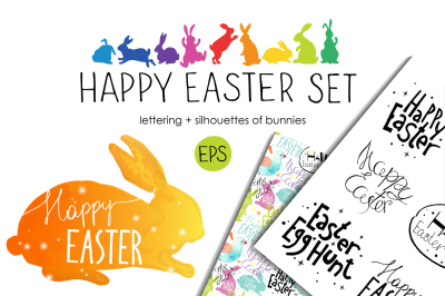 Easter set. Bunnies. Lettering.