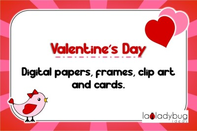 Valentine's day set. Digital papers, frames, clip art and cards