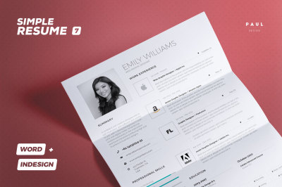 Simple Resume/Cv Volume 7 - Indesign + Word Template